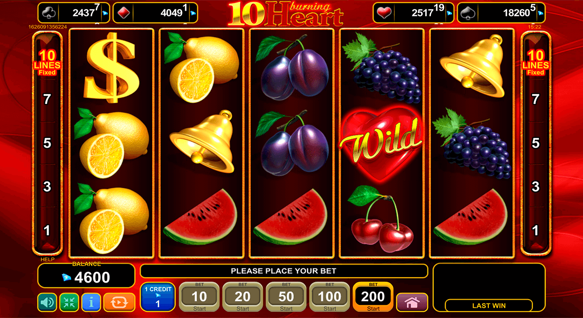5 burning heart egt casino slots lottery
