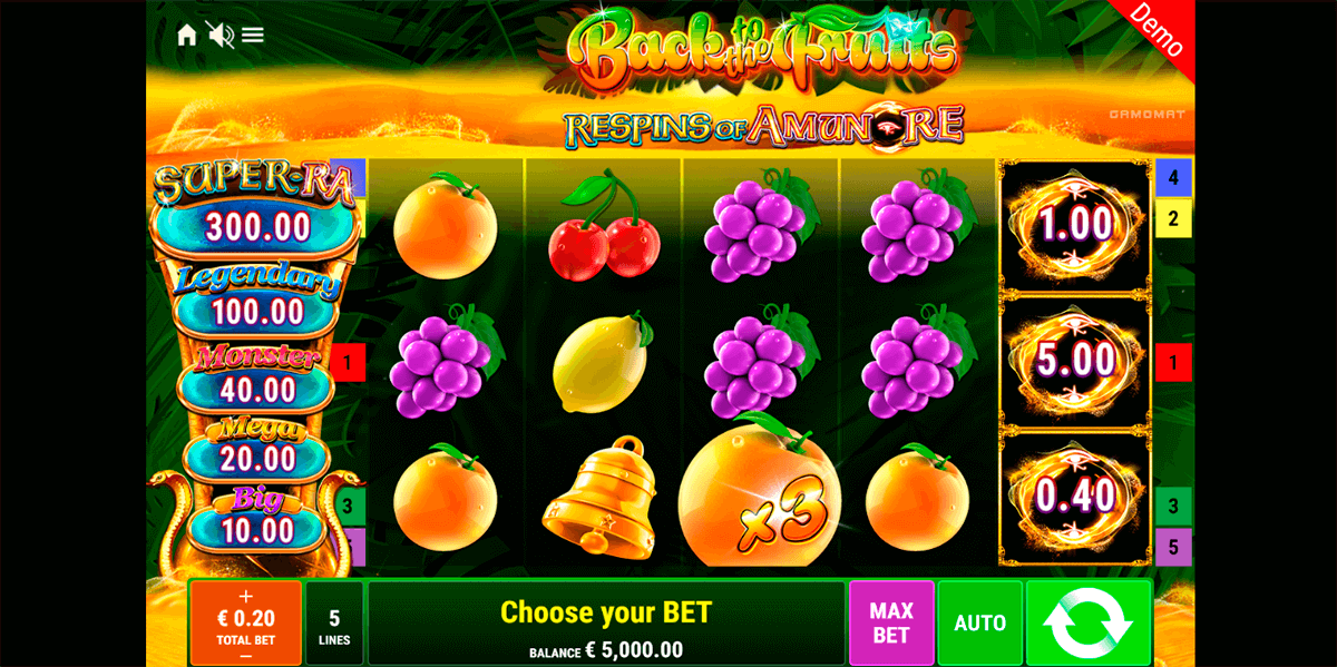back to the fruits respins of amunre gamomat casino slots