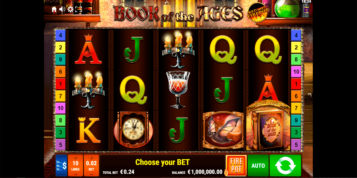 book of the ages red hot firepot gamomat casino slots