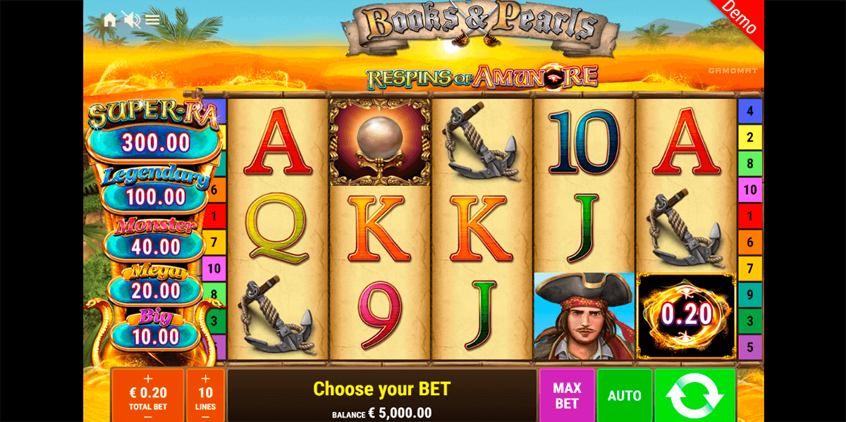 books and pearls respins of amunre gamomat casino slots