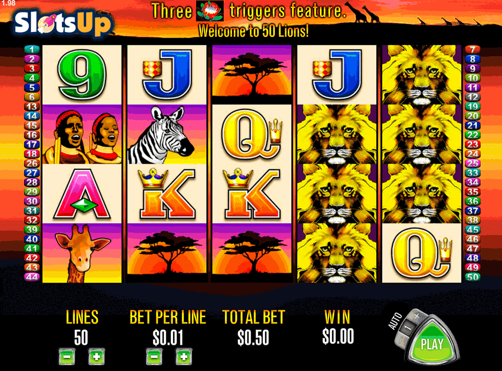 How to play 50 Lions, Aristocrat free play demo video slots
