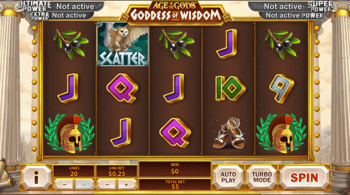 AGE OF THE GODS GODDESS OF WISDOM PLAYTECH CASINO SLOTS