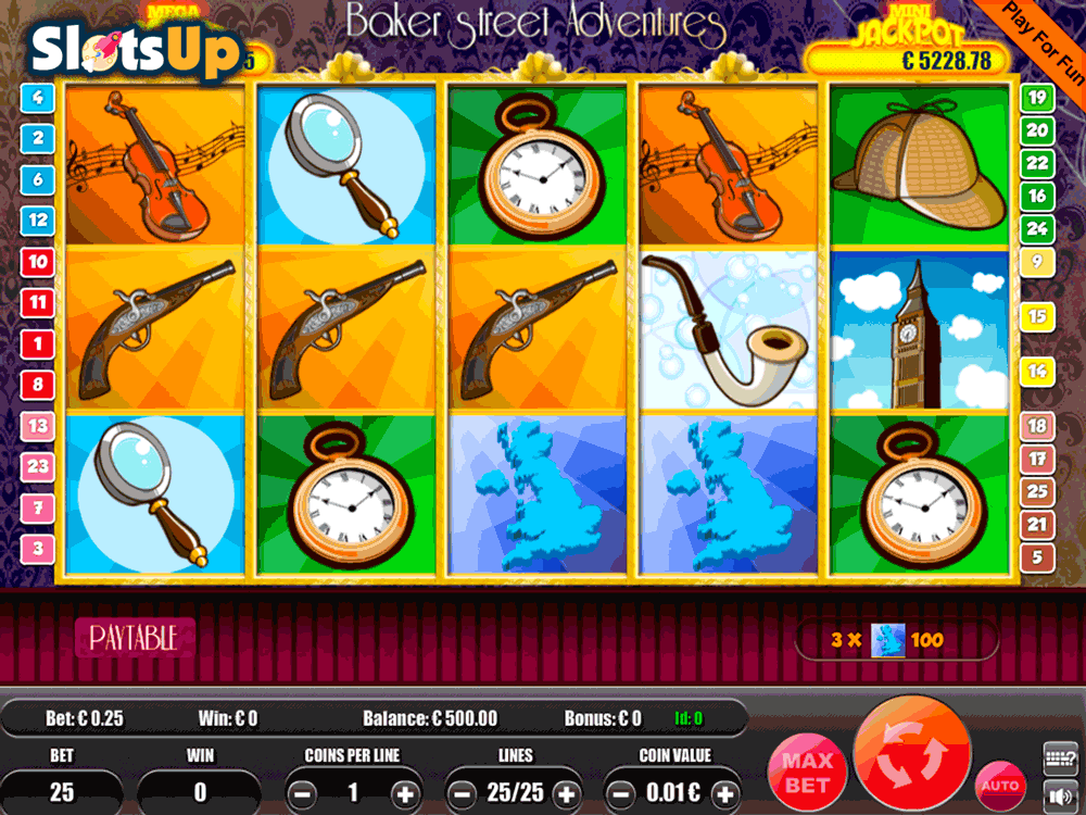 Baker Street Adventures 9 Line is a 5-reel, 9-line online slot game with a progressive jackpot, bonus round, bonus spins, autoplay, video slots, wild symbol, scatter symbol, adventure, british, literature and detective themes you can play at 3 online casinos.