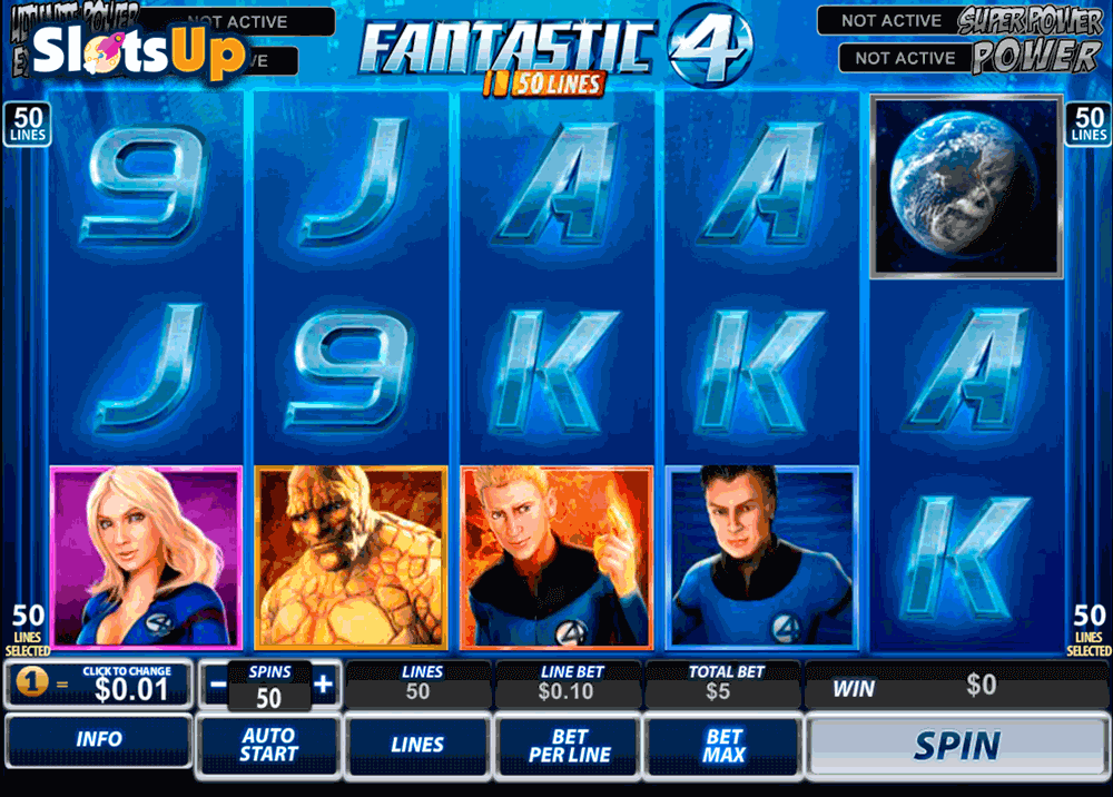 FANTASTIC FOUR 50 LINES PLAYTECH CASINO SLOTS