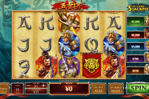 five tiger generals playtech casino slots