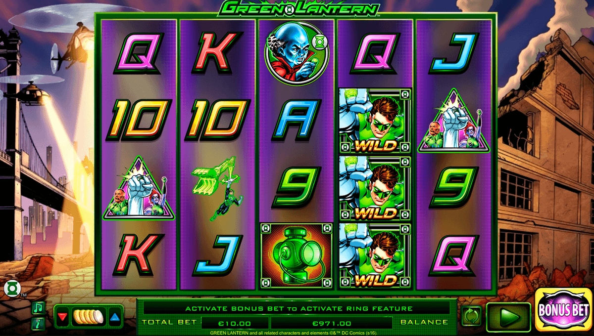 Play Green Lantern Progressive Slots at Casino.com New Zealand