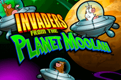 logo invaders from the planet moolah wms slot game