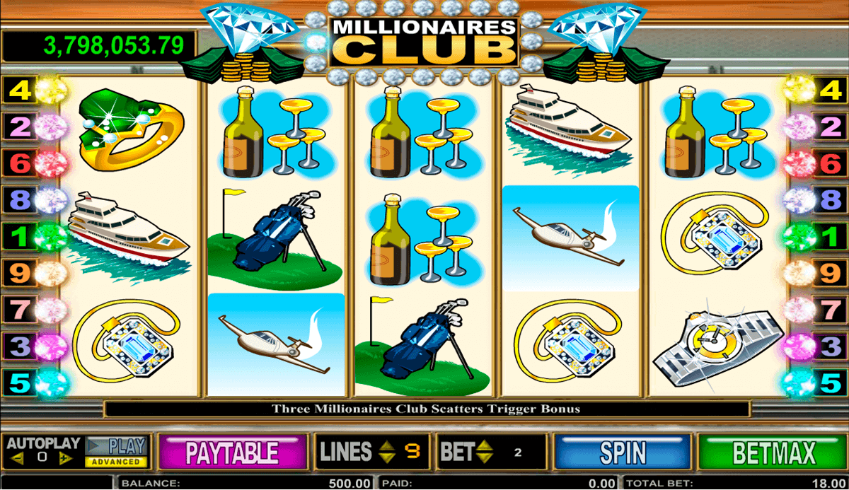 Millionaires Club is a Progressive Online Slot Machine Game