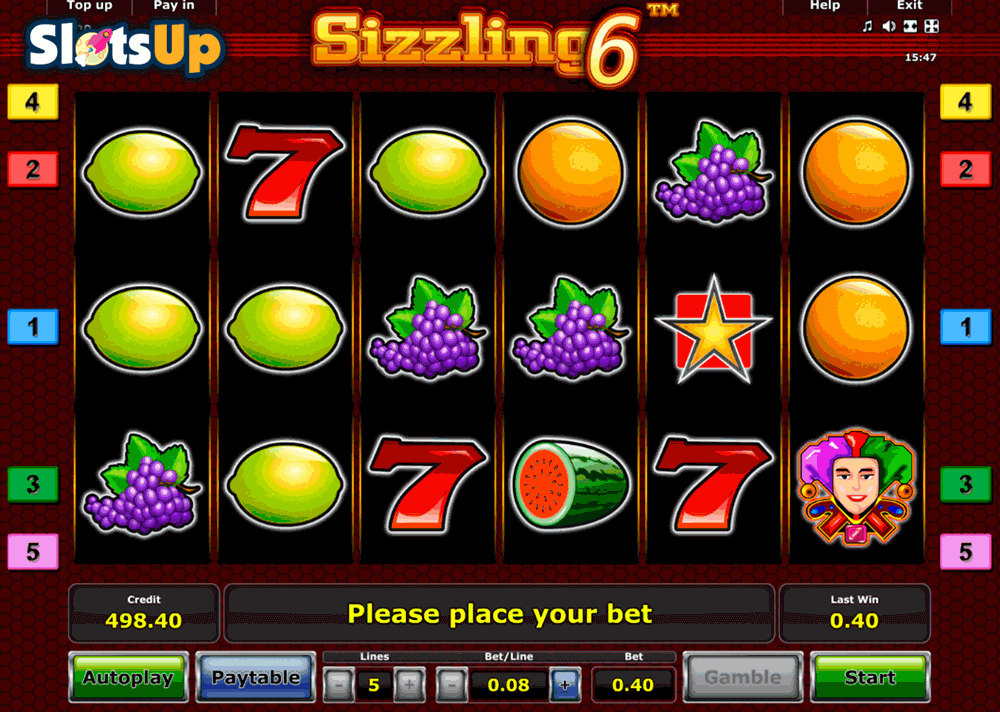online real casino sizzling games