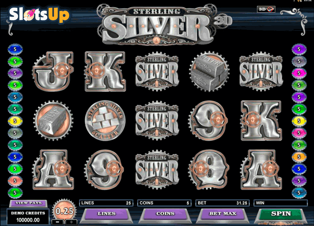STERLING SILVER 3D MICROGAMING CASINO SLOTS