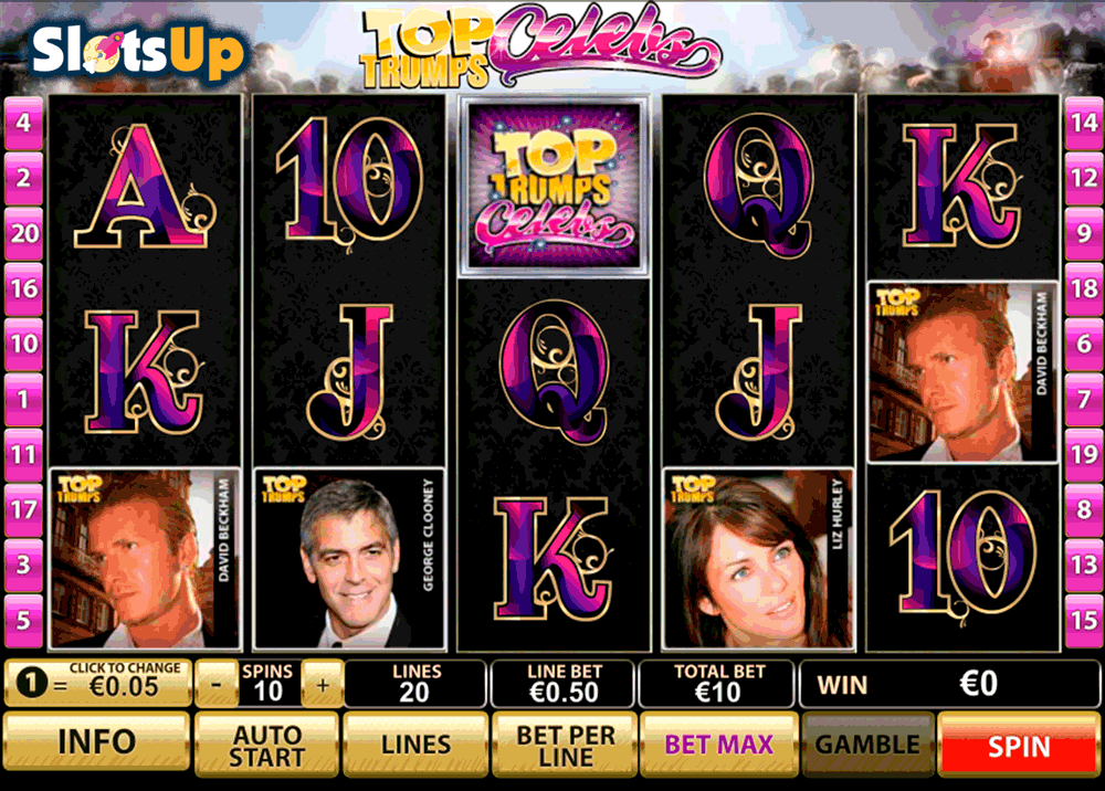 TOP TRUMPS CELEBS PLAYTECH CASINO SLOTS