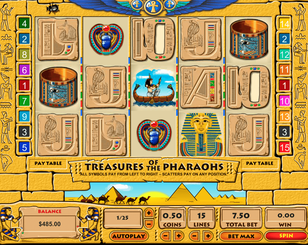 Treasures of the Pharaohs 3 Lines Slots - Play for Free Now