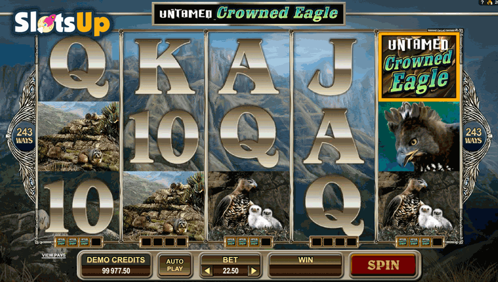 untamed crowned eagle microgaming casino slots