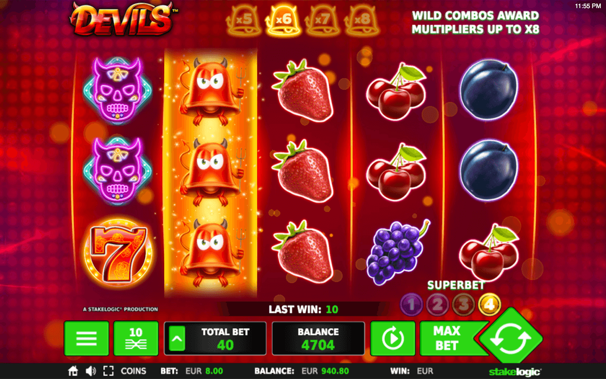 Devils Slot Indulge in some devilish spins with this free Devils slot machine by Stakelogic software, which the retro aesthetic of classic fruit machines and gives it a fiery makeover.Not only are the 5 reels of this slot ablaze with some animated effects, but they are also on /5(19).Varto
