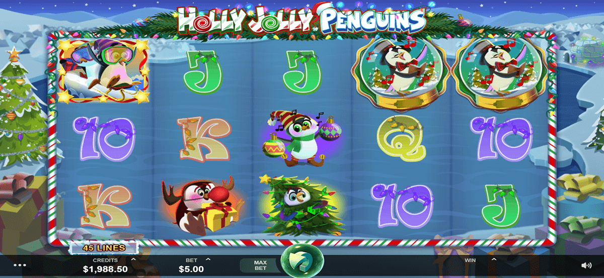 holly jolly penguins microgaming casino slots